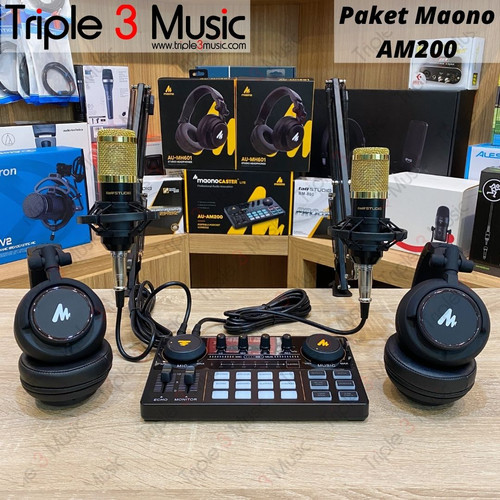 Foto Produk Maono AU AM200 With headphone Maonocaster paket Podcast 2 orang - pkt stand arm dari triple3music