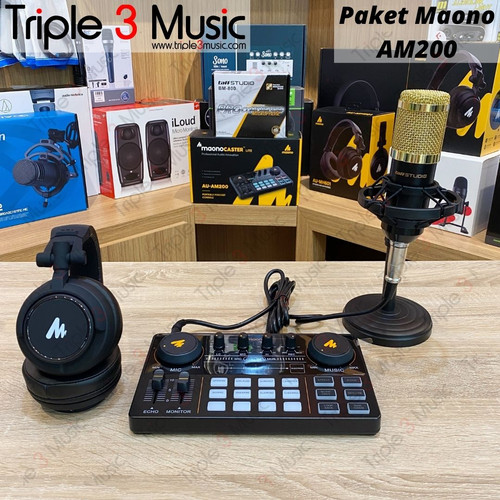 Foto Produk Maono AU AM200 with headphone Maonocaster paket Podcast 1 orang - paket BM800 dari triple3music