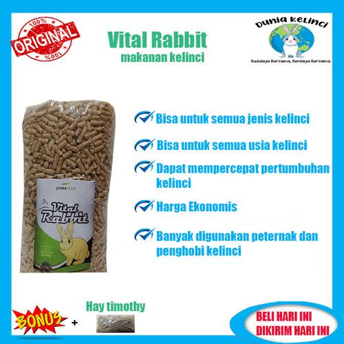 Foto Produk Pakan Pelet Makanan Kelinci Vital Rabbit 1 Kg (repack) Murah Terlaris - 500 gram dari Dunia Kelinci Depok