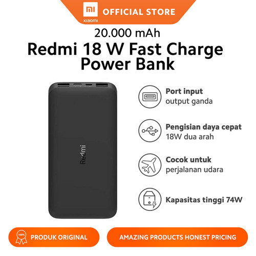 Foto Produk Xiaomi Official Redmi PowerBank 20000mAh Power Bank 18W Fast Charging dari Xiaomi Official Store