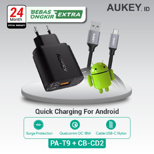 Foto Produk Aukey Charger PA-T9 500001 + Aukey Cable CB-CD2 500093 dari AUKEY