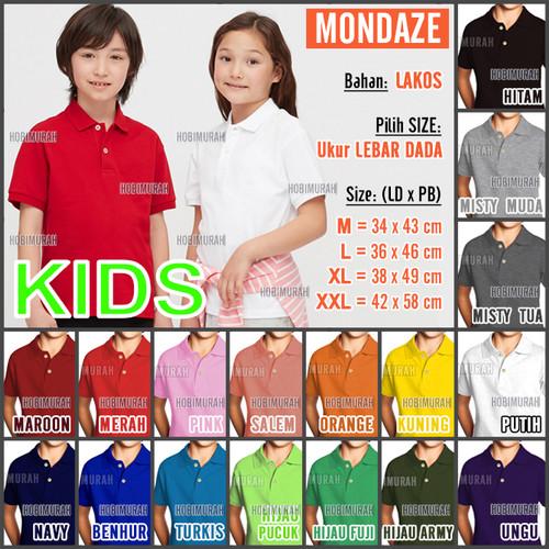 Foto Produk Kaos Polo Shirt / Kerah Polos MONDAZE - Anak - Pendek - size XL, Putih /Kuning ? dari hobimurah