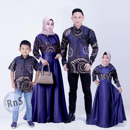 Foto Produk Gamis couple Batik set keluarga Batik Sarimbit seragam Baju pesta - Ungu, M dari batik iqlab