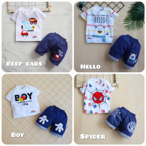 Foto Produk Baju Setelan Pendek Anak Bayi Laki-laki Bahan Kaos Katun Adem - Beep Cars dari Yotie Shop