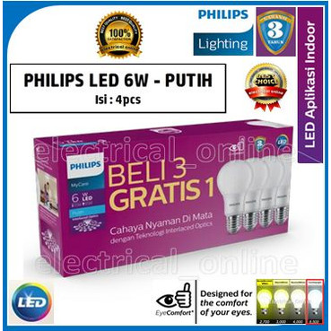 Foto Produk Lampu Philips LED [PACK] Bulb 6-55W E27 6500K 230V A60-MyCare (Putih) dari electrical online