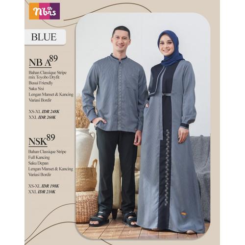 Foto Produk couple nibras gamis nb a89 koko nsk 089 baju muslim pasangan sarimbit - Koko Blue, XS dari JAZA Hijab