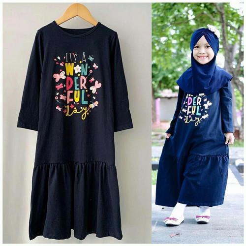 Foto Produk Gamis Kaos Sablon Baju Busana Muslim Blanjuran Anak Perempuan Murah - NAVY, SIZE 2 dari niagaid