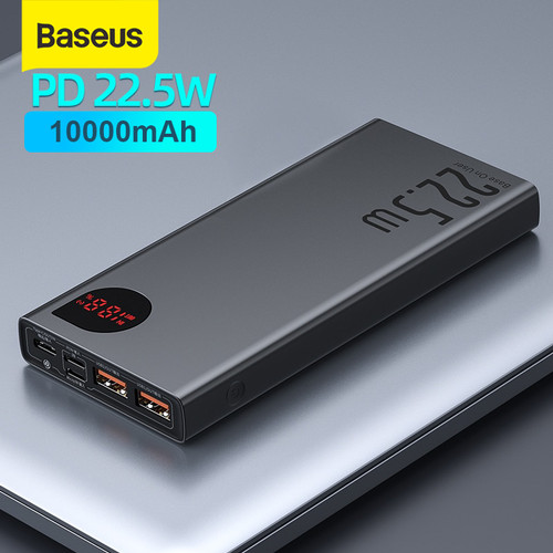 Foto Produk BASEUS ADAMAN FAST CHARGING POWER BANK QUICK CHARGE 4.0 3.0 TYPE C PD - Black 10 000mah dari Baseus Official Store