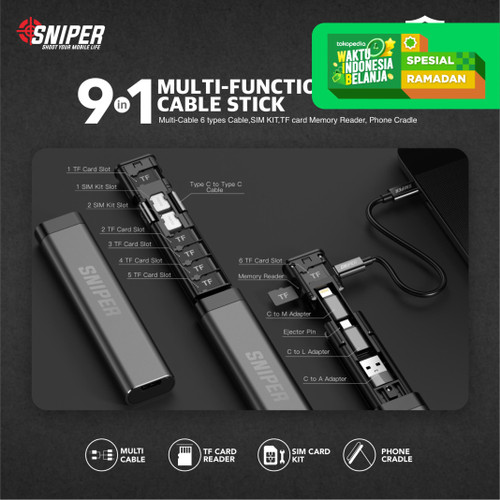 Foto Produk Sniper Multi-function Card Storage Data Cable Stick 9in1 - Black dari Sniper Indonesia