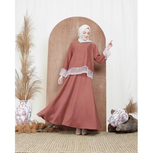 Foto Produk Nafashakila Calea Set Abaya Muslim Merah Bata dari nafashakila
