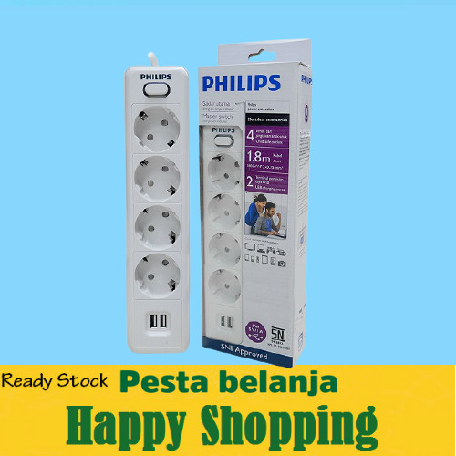 Foto Produk Stop Kontak PHILIPS 4 Lubang + USB Charger + Kabel 1.8 Meter - Philips dari HomeLeaving