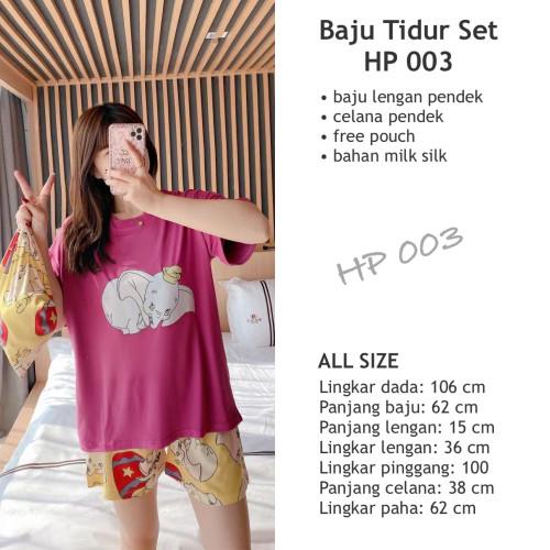 Foto Produk Baju Tidur Set HP 003 piyama Stelan Celana Pendek Baju Pendek+Pouch dari Rivtech Global Solution