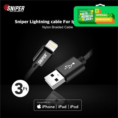 Foto Produk Sniper Cable Nylon Braided Lightning 3ft /0.9m - Black dari Sniper Indonesia