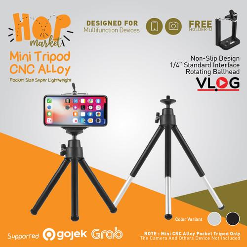 Foto Produk Desktop Mini Tripod HP 2-Section with Holder U Universal Smartphone - BLACK dari HOP Market