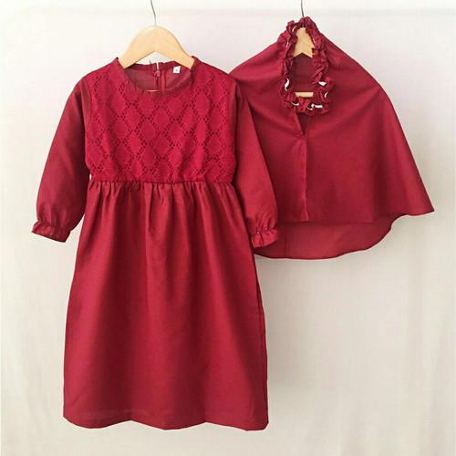 Foto Produk Gamis Katun Brukat Baju Busana Muslim Anak Perempuan 1 2 3 4 5 6 Tahun - SIZE 1 dari niagaid
