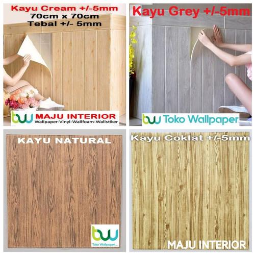 Foto Produk Wallpaper Dinding 3D 70 x 70 cm Foam Serat / Motif Kayu BB - Kolase Kayu 5mm dari Maju Interior