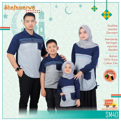 Foto Produk Sarimbit Shafamarwa 40 - Navy   Kaos Couple   Baju Keluarga - Anak Lk 2-6 dari locell