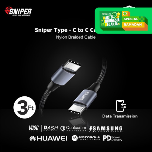 Foto Produk Sniper USB-C To USB-C PD Fast Charging and Data Transfer + Pouch dari Sniper Indonesia