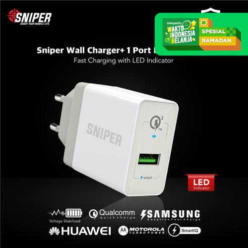 Foto Produk Sniper Wall Charger+ 1 Port Fast Charging Qualcomm QC 3.0 - White dari Sniper Indonesia