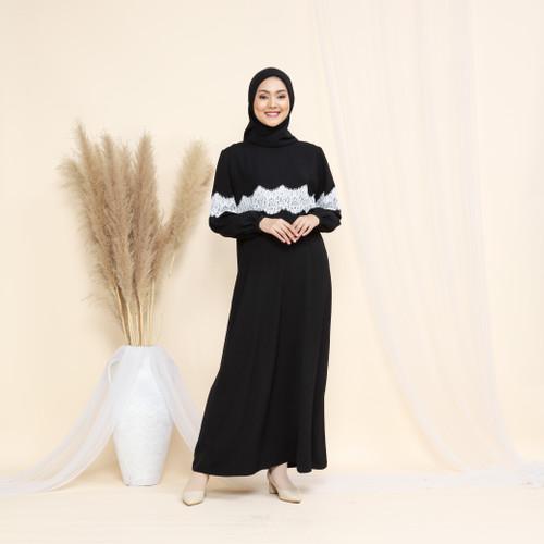 Foto Produk Nafashakila Laura Dress Abaya Muslim Hitam Putih dari nafashakila