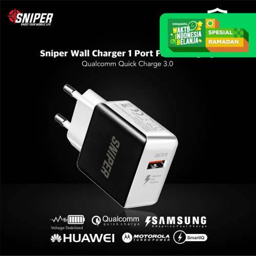 Foto Produk Sniper Wall Charger 1 Port Fast Charging Quick Charge 3.0 - Hitam dari Sniper Indonesia