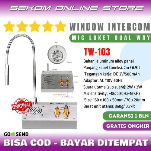 Foto Produk RETEKESS Dual Way Window Counter Intercom - Mic Loket 2 Arah TW-103 dari SEKOM ONLINE STORE