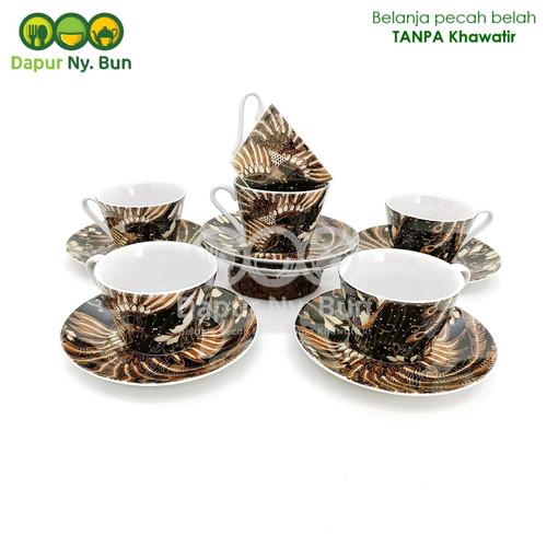 Foto Produk 6 Pasang Cangkir Set Motif Batik MERAK / Cangkir Kopi & Saucer dari Dapur Ny.Bun