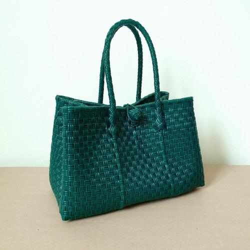Foto Produk Kimmy Bag - Tas Anyam Plastik, Tas Parcel Hampers Lebaran, Handbag - Dark Green dari Native Borneo
