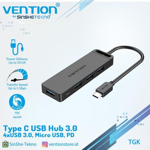 Foto Produk Vention Usb Hub Type C 3.1 USB 3.0 2.0 Multi Usb Micro Power Supply - TGK, 0.15m dari VENTION by SinsheTekno