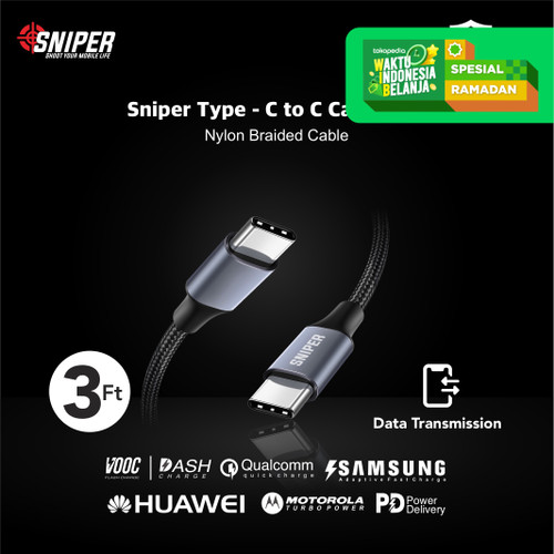 Foto Produk Sniper USB-C To USB-C PD Fast Charging and Data Transfer + Free Pouch dari Sniper Indonesia