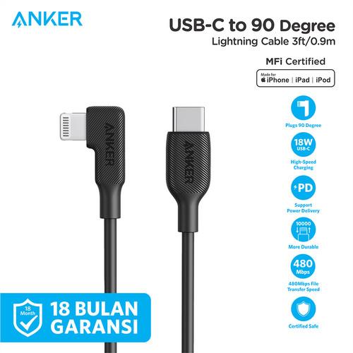 Foto Produk Kabel Charger Anker USB-C to 90 Degree Lightning Cable 3ft - Y2360 - Hitam dari Anker Indonesia