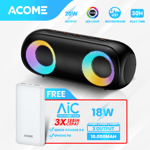 Foto Produk ACOME Super Bass Speaker Bluetooth 5.0 20W IPX7 RGB Rave Party A20 - Bundling 4 dari Acome Indonesia