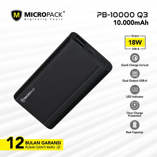 Foto Produk MICROPACK POWERBANK 10.000 MAH QUICK CHARGE 3.0 PB-10000Q3 - Hitam dari Micropack Official Store