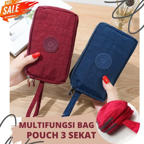 Foto Produk Travel Pouch / Pouch Bag / Pouch Nylon 3 Sekat Multifungsi - 5. PURPLE dari Rising.collection
