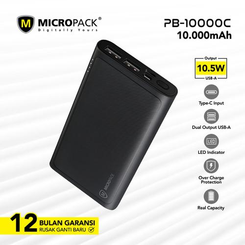 Foto Produk Micropack Type-C Power Bank 10.000 mAh Black (PB-10000 C) (FS) - Hitam dari Micropack Official Store
