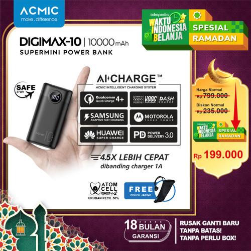 Foto Produk ACMIC DIGIMAX SuperMini Digital AiCharge Power Bank (QC4 + PD + VOOC) - 10000 No Kabel dari ACMIC Official Store