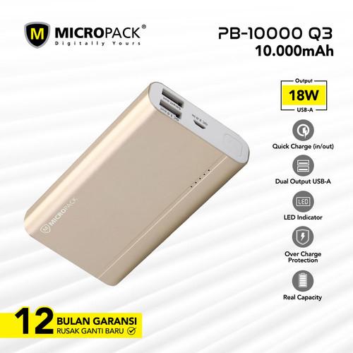 Foto Produk MICROPACK POWERBANK 10.000 MAH QUICK CHARGE 3.0 PB-10000Q3 - Emas dari Micropack Official Store