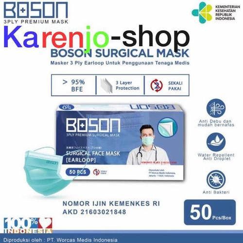 Foto Produk BOSON Surgical Mask Earloop 3 ply - Masker Medis isi 50 Lembar - TOSCA dari karenjo-shop