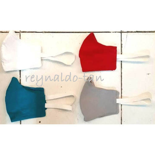 Foto Produk 12 Pcs Masker Kain Hijab Jilbab Polos Warna Tali Karet Monyong 2 ply dari reynaldo-tan