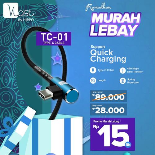 Foto Produk Hippo Vlast Kabel Type C USB 100cm TC-01 - Vlast TC-01 Type C 100cm - Merah dari iLo Official Store