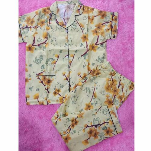 Foto Produk PIYAMA CP Fit To L Motif NEW SAKURA LD100 - Kuning dari cantik piyama