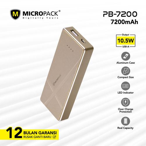 Foto Produk MicroPack Power Bank Li-Polymer 7200 mAh PB-7200 - Kuning dari Micropack Official Store