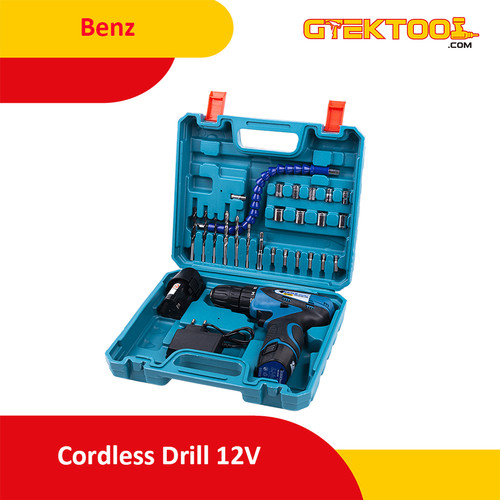 Foto Produk Benz Mesin Bor Baterai Cordless Drill 10MM 12V + 24Pcs BZ-8004 dari Gtek Tool