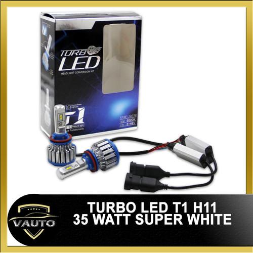 Foto Produk Turbo LED Headlight - Bohlam Lampu LED T1 H8 / H11 35W Super White dari vauto