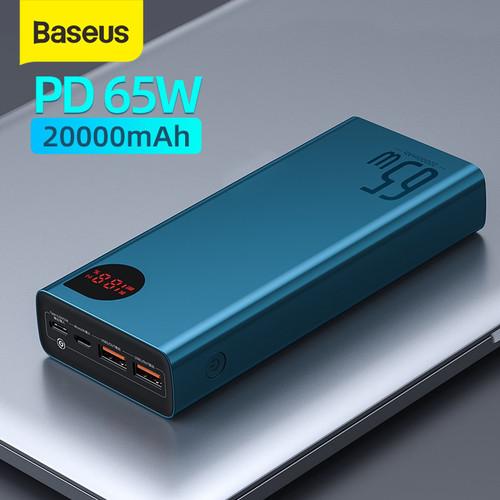 Foto Produk BASEUS ADAMAN 65W FAST CHARGING POWER BANK QUICK CHARGE TYPE C PD - Biru 20 000Mah dari Baseus Official Store