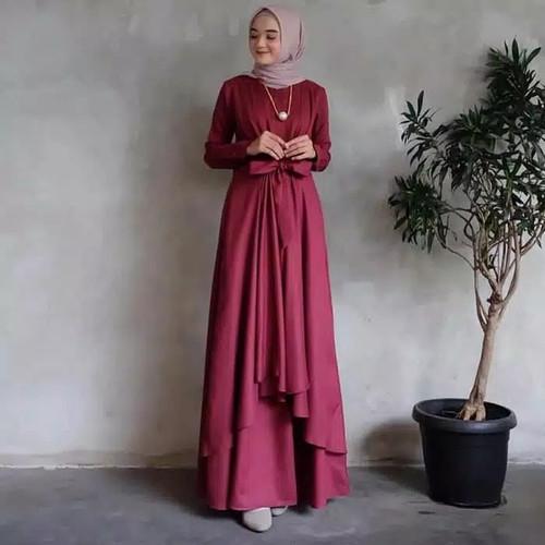 Foto Produk Gamis Wanita Dewasa Gaun Pengantin Kombinasi Brukat Baju Muslim Trendy - Maroon, S dari AH Rizkita Store