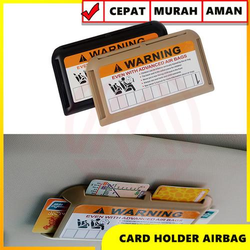 Foto Produk CARD HOLDER CAR TEMPAT KARTU MOBIL SUN VISOR UNIVERSAL KREM / HITAM - Krem dari Modifikasi Market