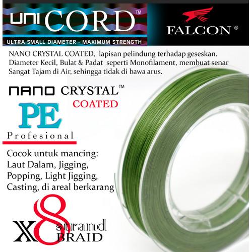 Foto Produk Senar Pancing PE X8 Falcon Uni Cord Nano Crystal Coated 150M - Hijau, PE 1.0 dari Falcon Indoesia
