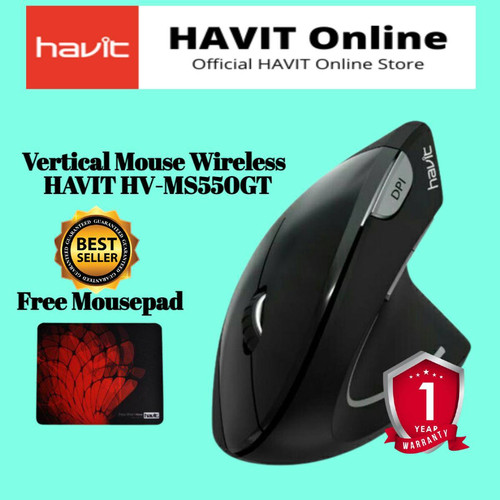 Foto Produk HAVIT HV-MS55GT Wireless Vertical Mouse with Ergonomic Design, Optical - Hitam dari HAVIT OFFICIAL STORE