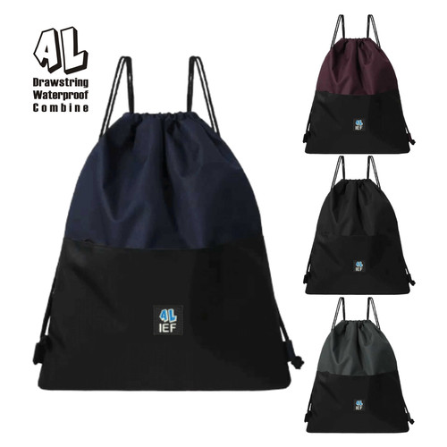 Foto Produk Tas Serut Anti Air String Bag Pria Wanita Harga Murah Terbaru PREMIUM - Hitam dari aliefembroidery